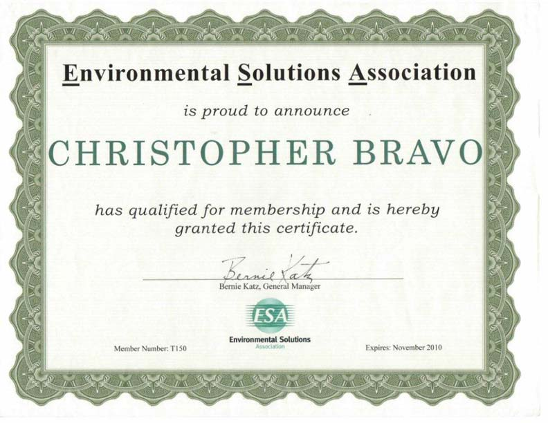 esa mold certified certificate environmental remediation cmi training association solutions beyond above certifications