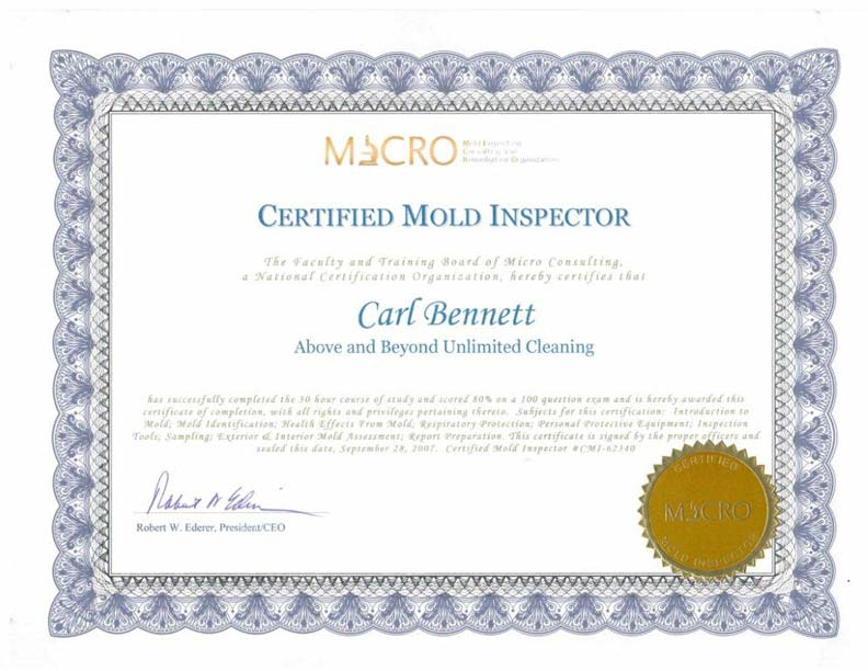 Our Mold Removal Certifications | Above & Beyond