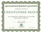 We are ESA Environmental Solutions Association Certified